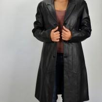 Hosszú, juhnappából készült fekete bőrkabát, bőrdzseki, bőrkabát bolt