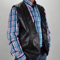 Klasszikus férfi bőrmellény, juhnappából, bőrkabát, bőrkabát bolt