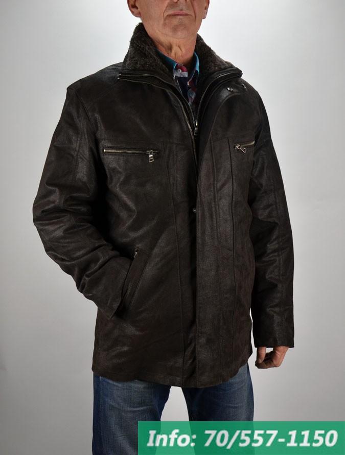 Téliesített bőrkabát steppelt selyembéléssel és kivehető műszőrme  gallérral c6597e4c3c