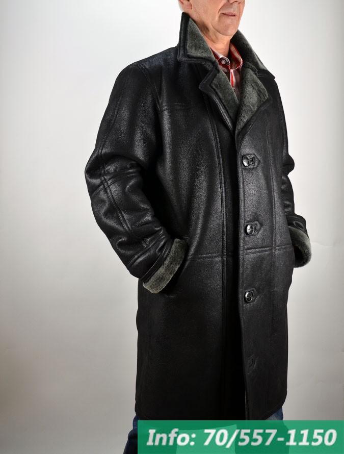 Hosszított fazonú férfi irhakabát, irhabunda, bőrkabát, bőrkabát bolt