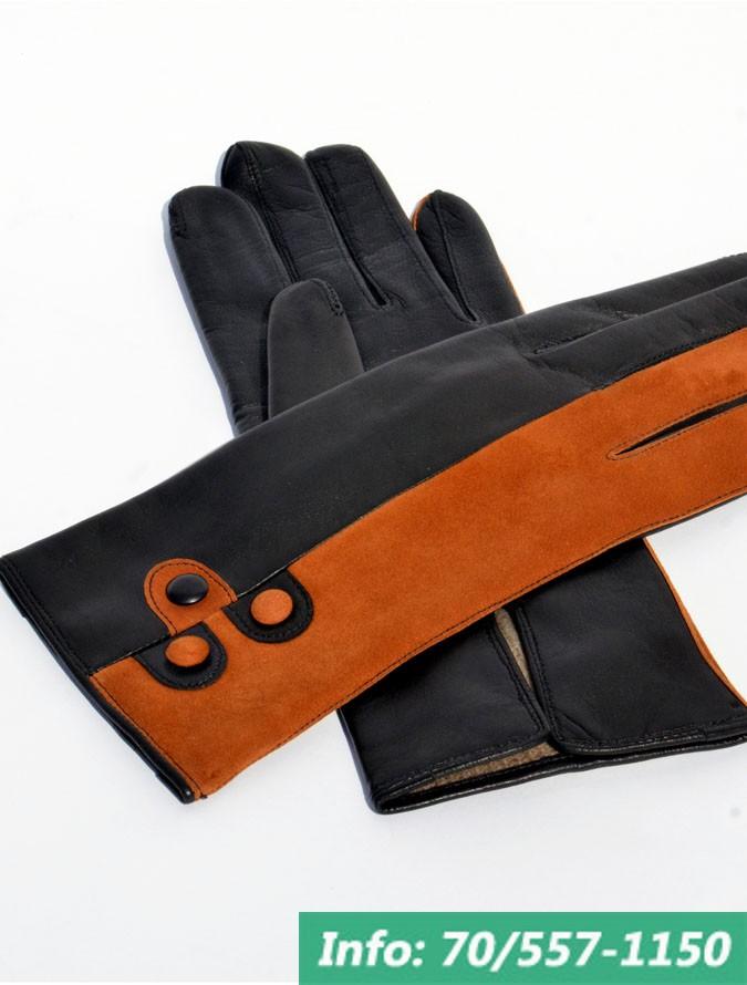 Kétszínű női bőrkesztyű a fekete és egy tetszőleges szín kombinálásával, kesztyű, bőrkabát, bőrkabát bolt