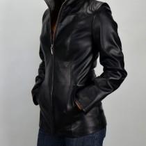 Elizabeth, fekete, karcsúsított női bőrkabát
