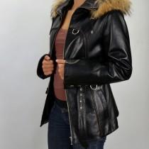 Alakot kiemelő, karcsúsított bőrkabát modell, rókaprémes kapucnival, bőrkabát, bőrkabát bolt