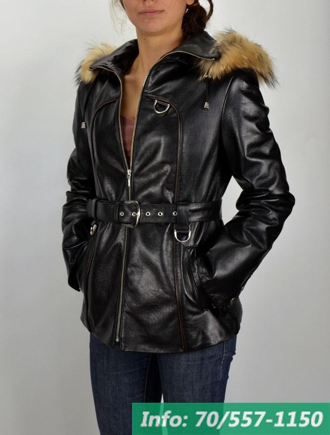 013 kapucnis rókaprémes női bőrkabát – Bőrkabát és bőrdzseki