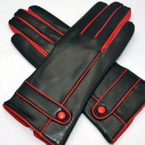 Piros és fekete színű bőrkesztyű, bőrkabát, bőrkabát bolt