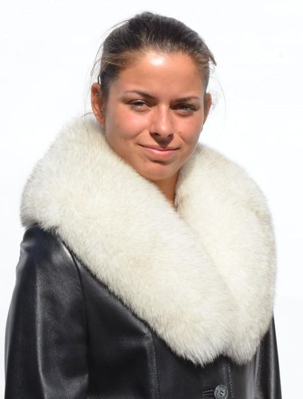Kékróka gallér kabátra, kosztümre, bőrkabát, bőrkabát bolt
