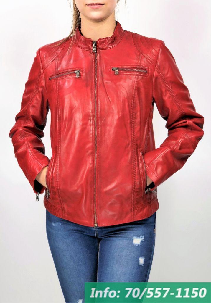1e04ddece1 MONO piros rövid női bőrdzseki - Bőrkabát boltBőrkabát bolt
