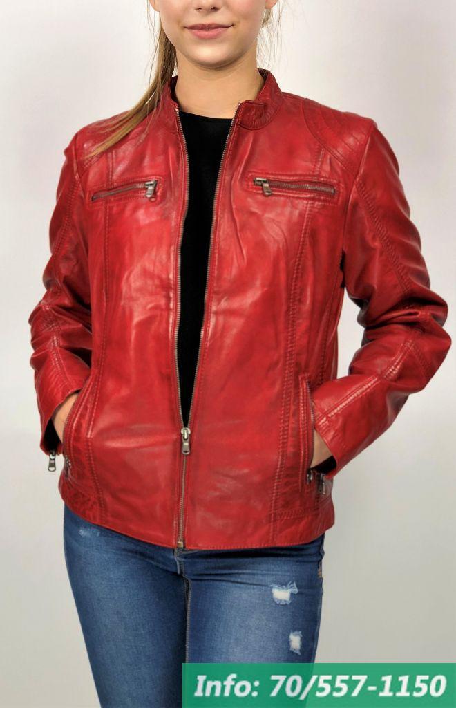 f76c5bedaf MONO piros rövid női bőrdzseki - Bőrkabát boltBőrkabát bolt